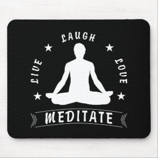 Live Laugh Love Meditate Male Text (wht) Mouse Mat