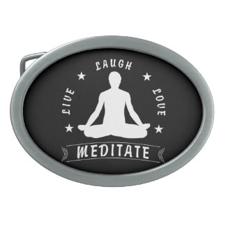 Live Laugh Love Meditate Male Text (wht) Oval Belt Buckle