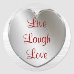 Live Laugh Love On Silver Heart Round Sticker