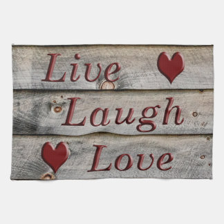 Live Laugh Love on the side of a barn Kitchen Towel