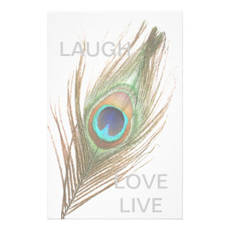 Live,Laugh,Love Peacock Feather Personalized Stationery