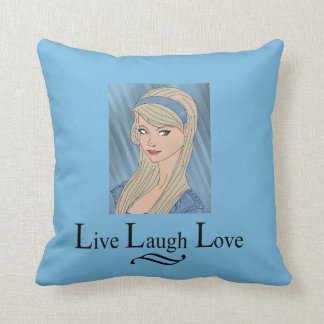 Live Laugh Love Pillow Blue