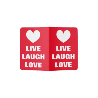 Live laugh love red passport holder with hearts