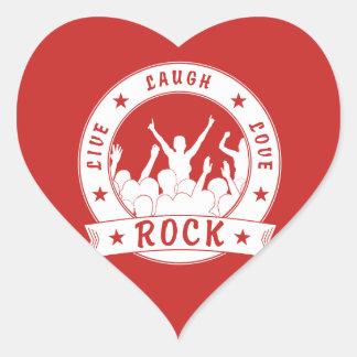 Live Laugh Love ROCK (wht) Heart Sticker