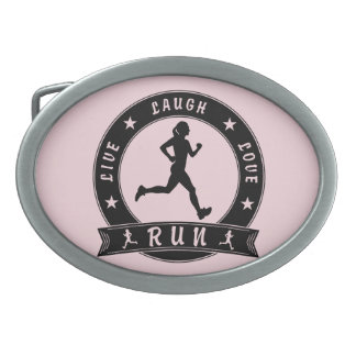 Live Laugh Love RUN female circle (blk) Belt Buckles