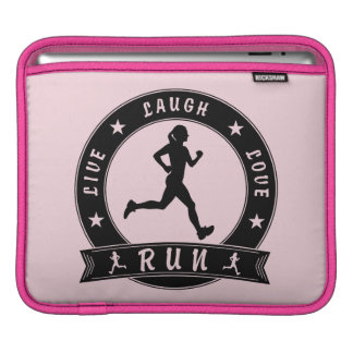 Live Laugh Love RUN female circle (blk) iPad Sleeve