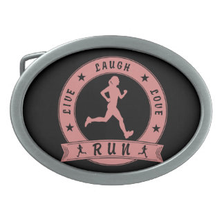 Live Laugh Love RUN female circle (pink) Belt Buckle