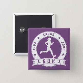 Live Laugh Love RUN female circle (wht) 15 Cm Square Badge