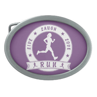 Live Laugh Love RUN female circle (wht) Oval Belt Buckles