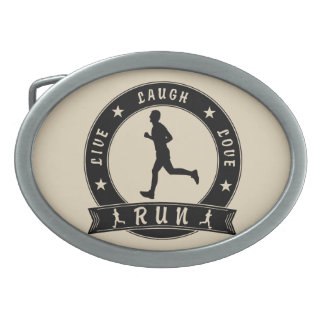 Live Laugh Love RUN male circle (blk) Oval Belt Buckle