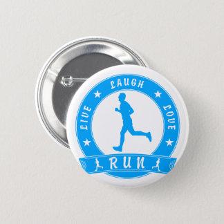 Live Laugh Love RUN male circle (blue) 6 Cm Round Badge