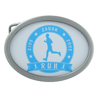 Live Laugh Love RUN male circle (blue) Belt Buckle