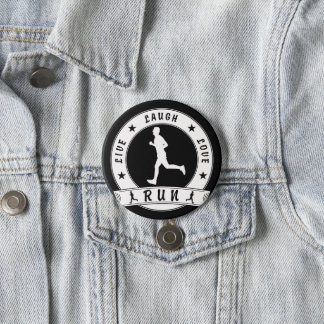 Live Laugh Love RUN male circle (wht) 7.5 Cm Round Badge