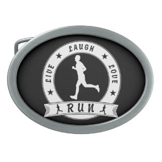Live Laugh Love RUN male circle (wht) Oval Belt Buckle