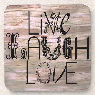 Live laugh love rustic wooden sign cork coasters