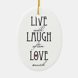Live laugh love simple text ceramic oval decoration