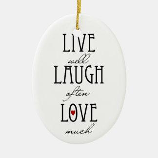 Live laugh love simple text christmas ornament