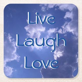 Live Laugh Love Sky Custom Square Coasters Square Paper Coaster