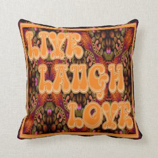 """Live, Laugh, Love Throw Pillow 16"""" x 16"""" Throw Cushion"""