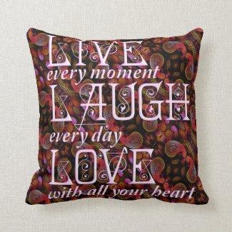 """Live, Laugh, Love Throw Pillow 16"""" x 16"""" Throw Cushions"""