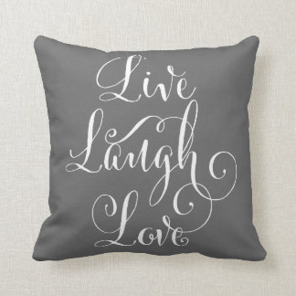 Live Laugh Love throw pillow - charcoal