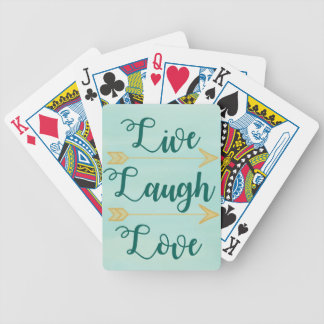 Live Laugh Love watercolor Bicycle Playing Cards