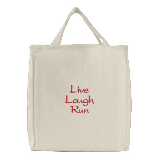 Live Laugh Run Embroidered Tote Bag