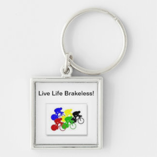 Live Life Brakess! keytag Silver-Colored Square Key Ring