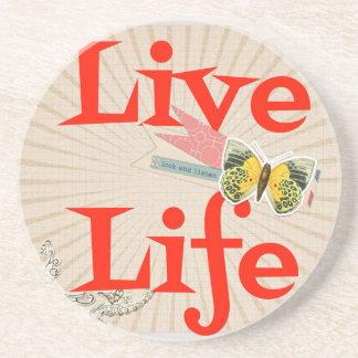 Live life drink coaster
