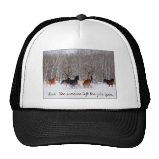 Live Life.....Like someone left the gate open! Trucker Hats
