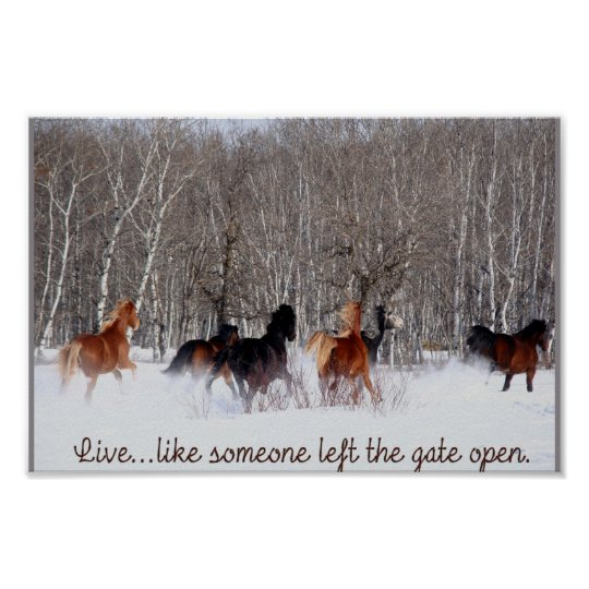 Live Like Someone Left The Gate Open Quote: Life Quotes Posters