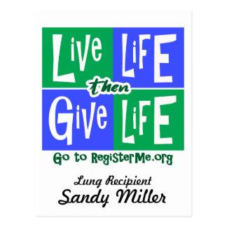 Live Life then Give Life Recipient Postcard
