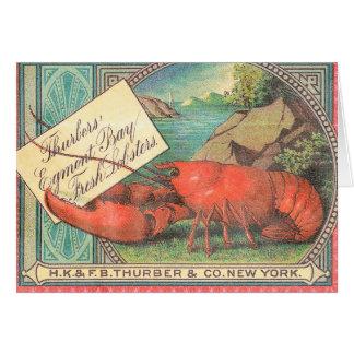 Live Lobster - Vintage Food Crate Label Greeting Card
