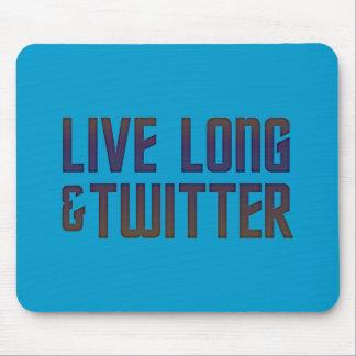 Live Long Twitter Text Mouse Mats