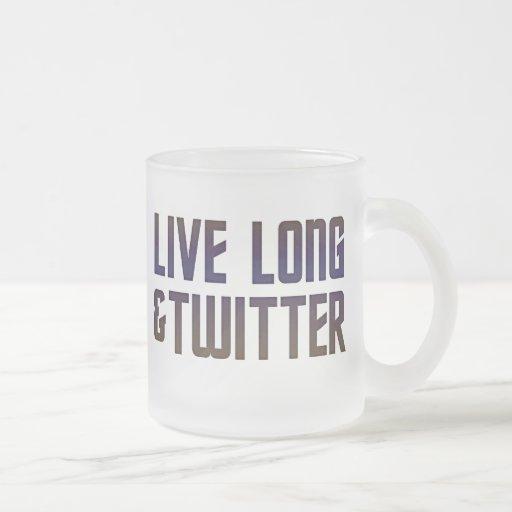 Live Long & Twitter Text Coffee Mugs