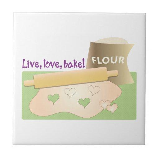 Live, Love, Bake! Ceramic Tiles