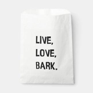 Live, Love, Bark Favor Bag Favour Bags