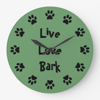 Live Love Bark Paw Prints Wall Clock
