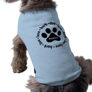 Live Love Bark Pawprint Personalised Dog Shirt