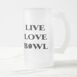 Live Love Bowl Frosted Glass Mug