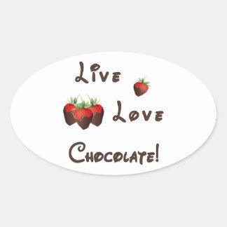 Live Love Chocolate Oval Sticker