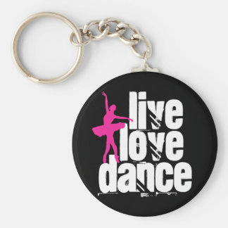 Live, Love, Dance Ballerina Basic Round Button Key Ring
