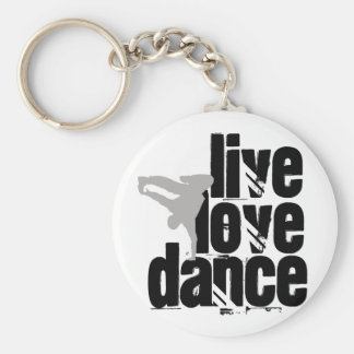 Live, Love, Dance Basic Round Button Key Ring