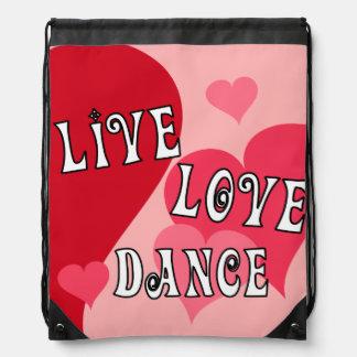 Live, Love, Dance Drawstring Bags