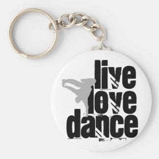 Live, Love, Dance Basic Round Button Key Ring