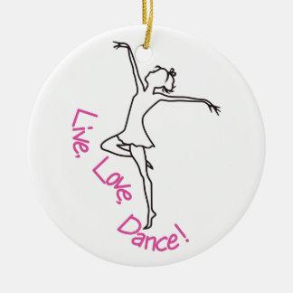 Live, Love, Dance! Round Ceramic Decoration