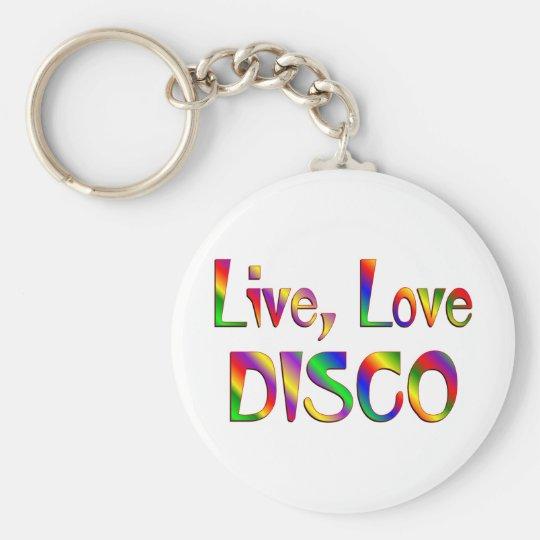 Live Love Disco Basic Round Button Key Ring