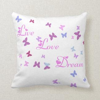 Live Love Dream butterfly pillow