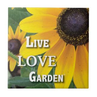 Live Love Garden Flower Ceramic Photo Tile
