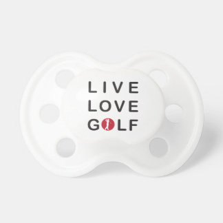 Live Love Golf Golfing Red Black Baby Pacifiers